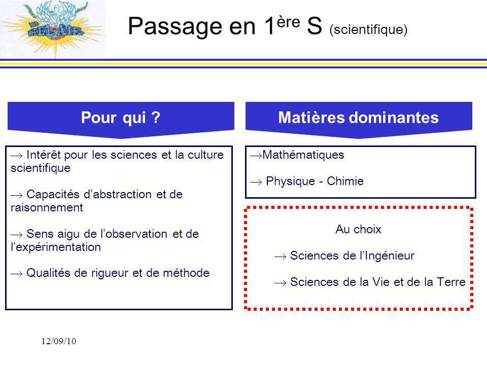 Passage en 1ère S (scientifique)