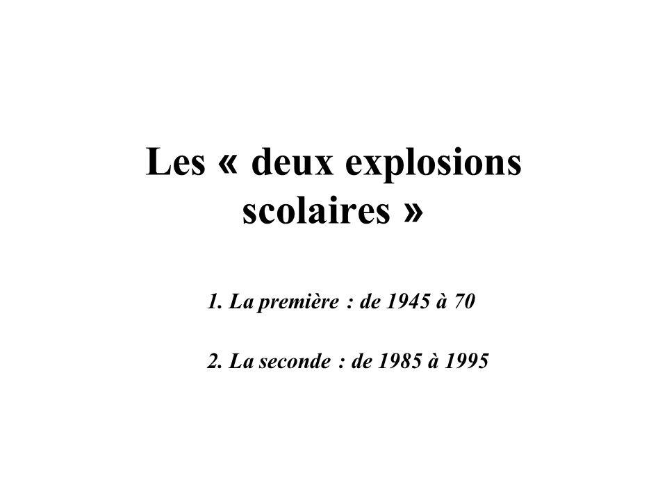 Les « deux explosions scolaires »