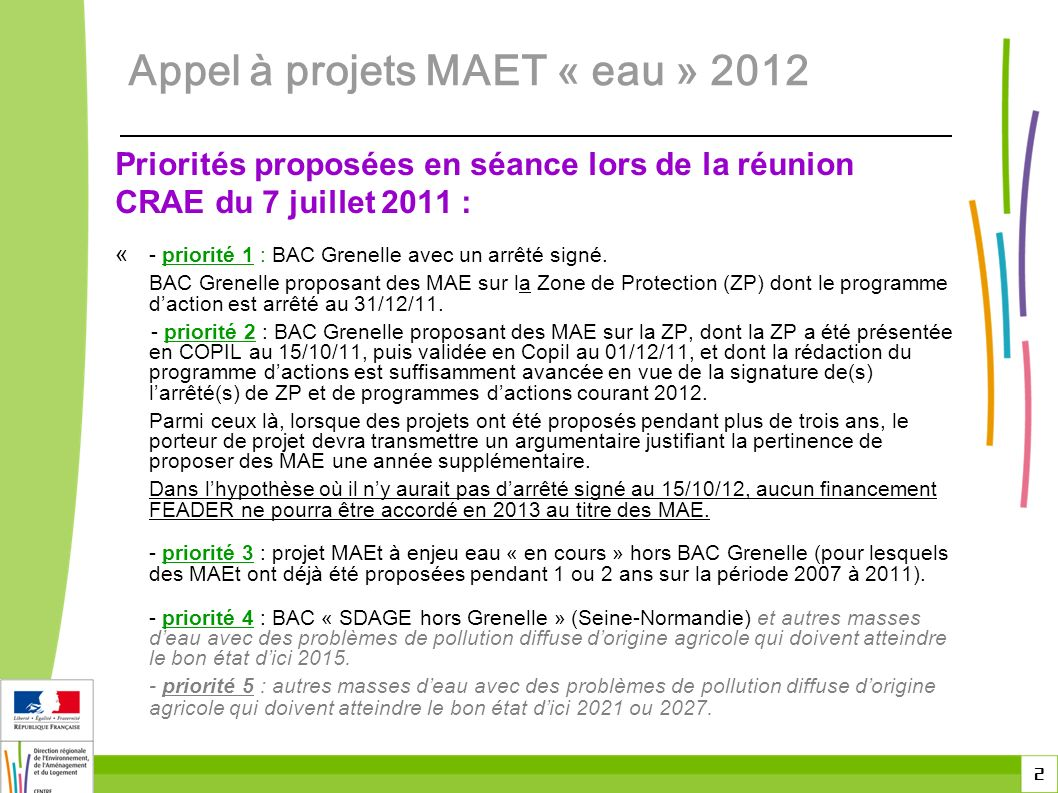 Appel à projets MAET « eau » 2012