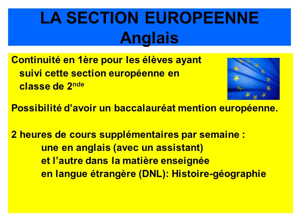 LA SECTION EUROPEENNE Anglais