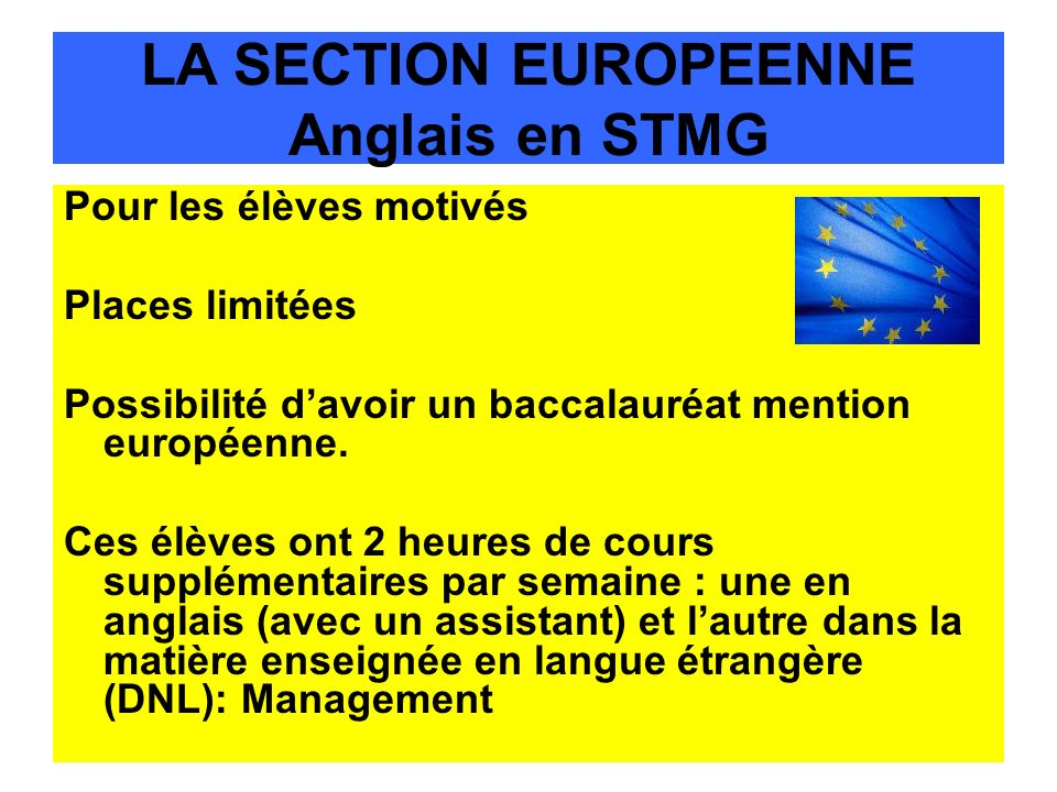 LA SECTION EUROPEENNE Anglais en STMG
