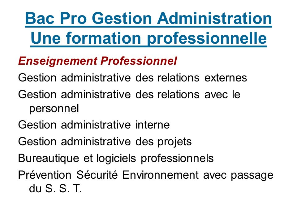 Bac Pro Gestion Administration Une formation professionnelle