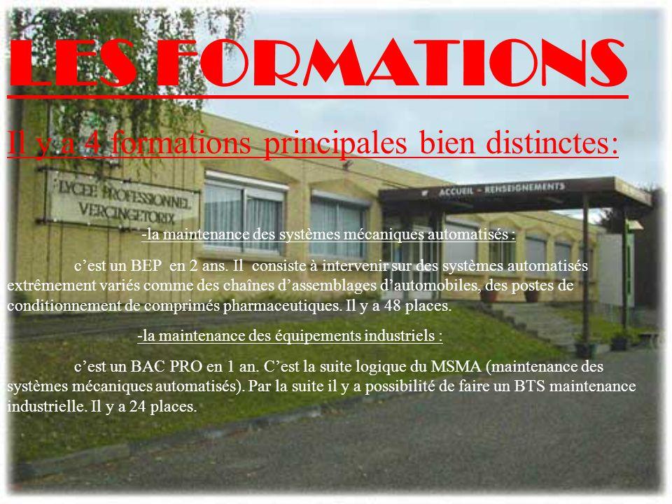 LES FORMATIONS Il y a 4 formations principales bien distinctes: