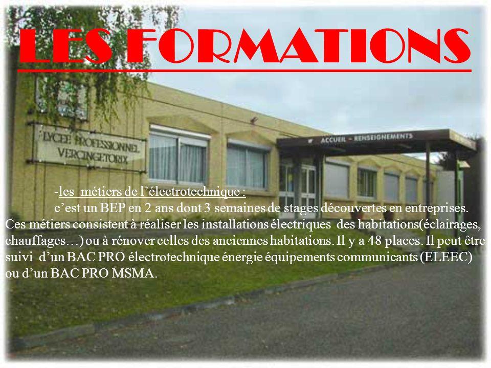 LES FORMATIONS -les métiers de l'électrotechnique :