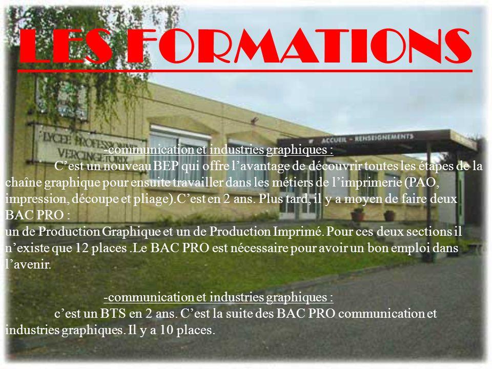 LES FORMATIONS -communication et industries graphiques :