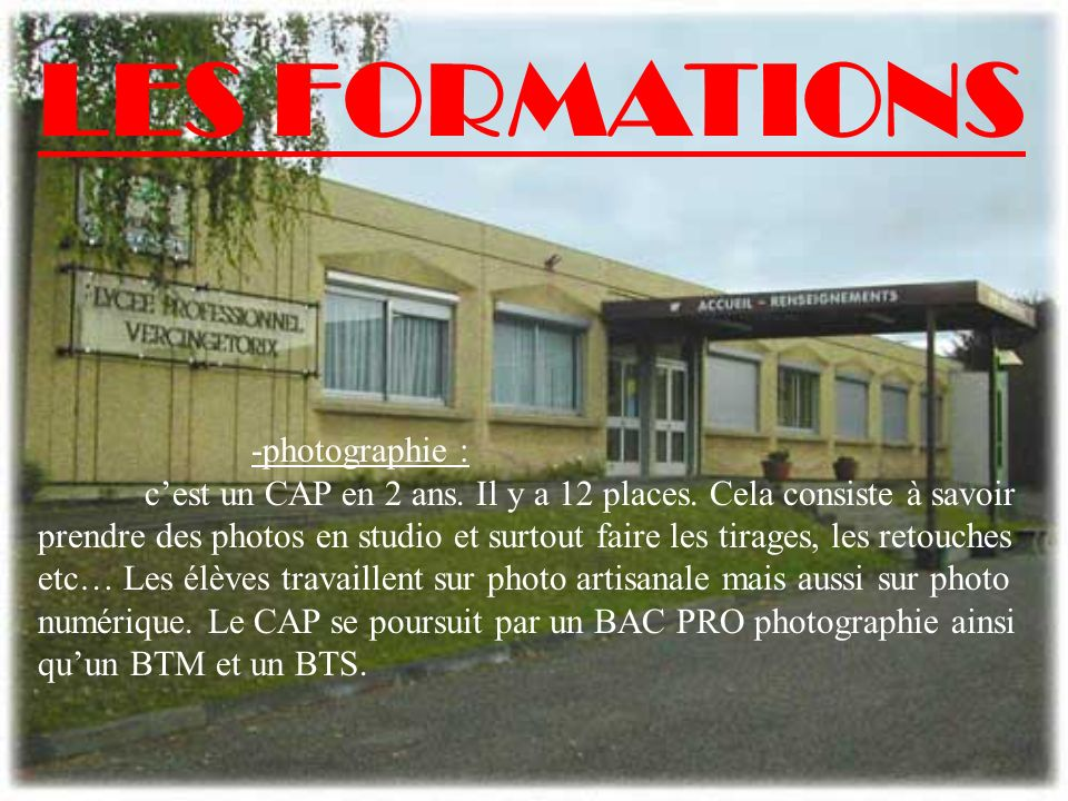 LES FORMATIONS -photographie :