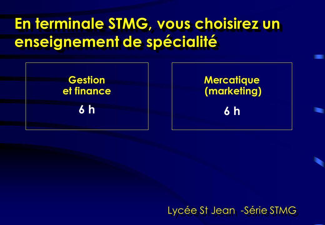En terminale STMG, vous choisirez un enseignement de spécialité