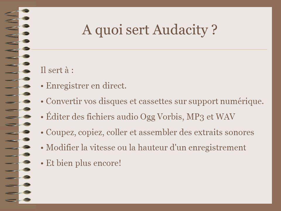 A quoi sert Audacity Il sert à : Enregistrer en direct.