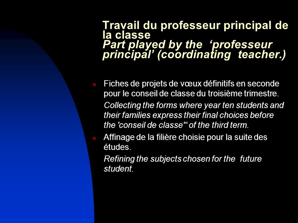 Travail du professeur principal de la classe Part played by the 'professeur principal' (coordinating teacher.)