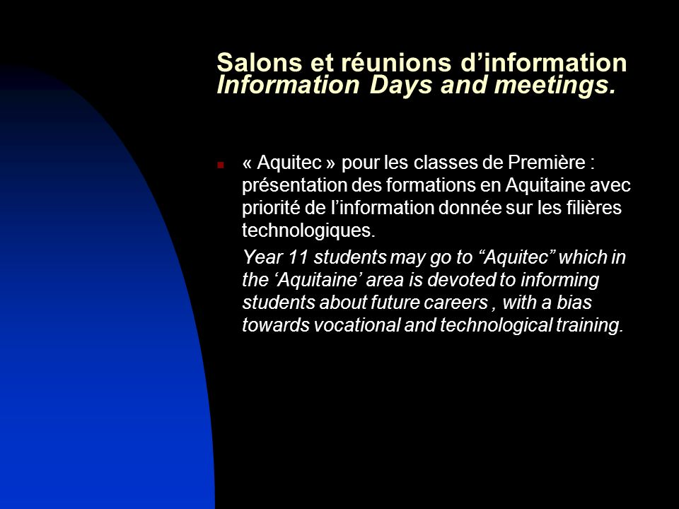 Salons et réunions d'information Information Days and meetings.