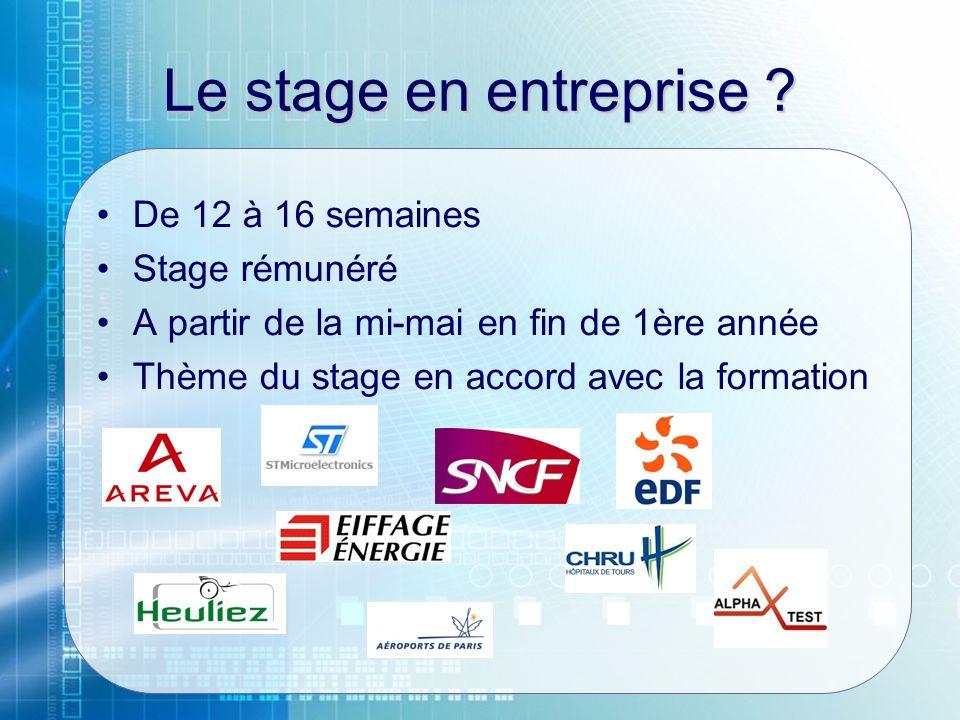 Le stage en entreprise De 12 à 16 semaines Stage rémunéré