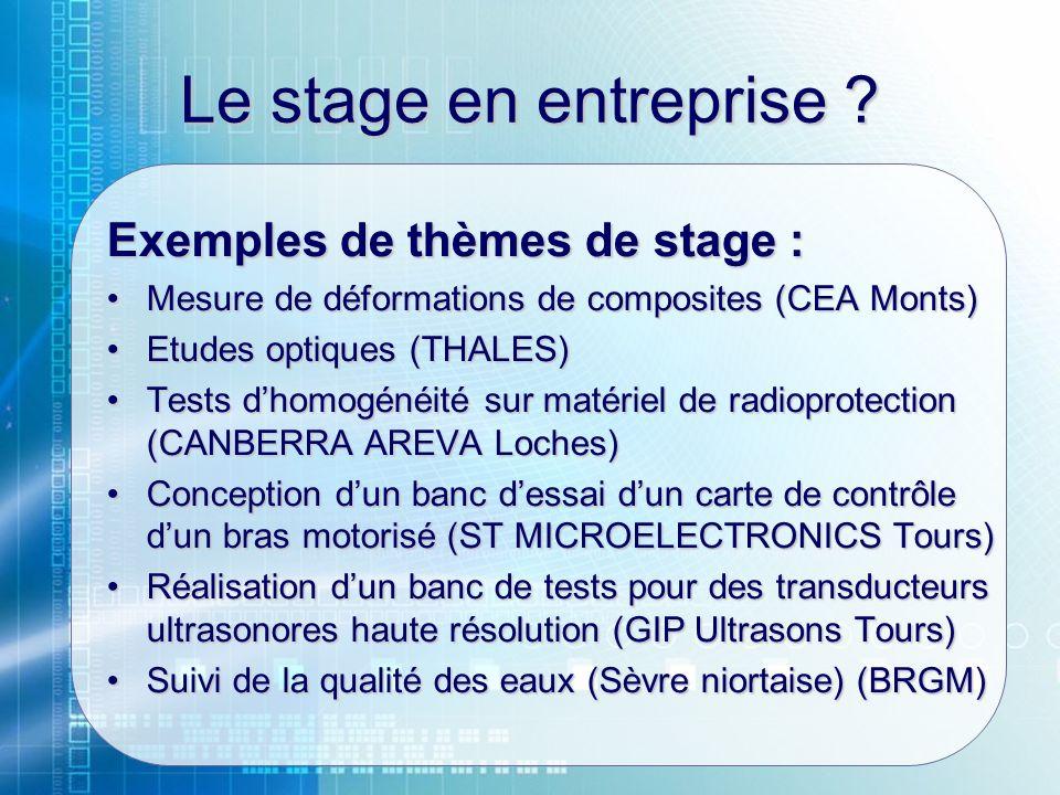 Le stage en entreprise Exemples de thèmes de stage :