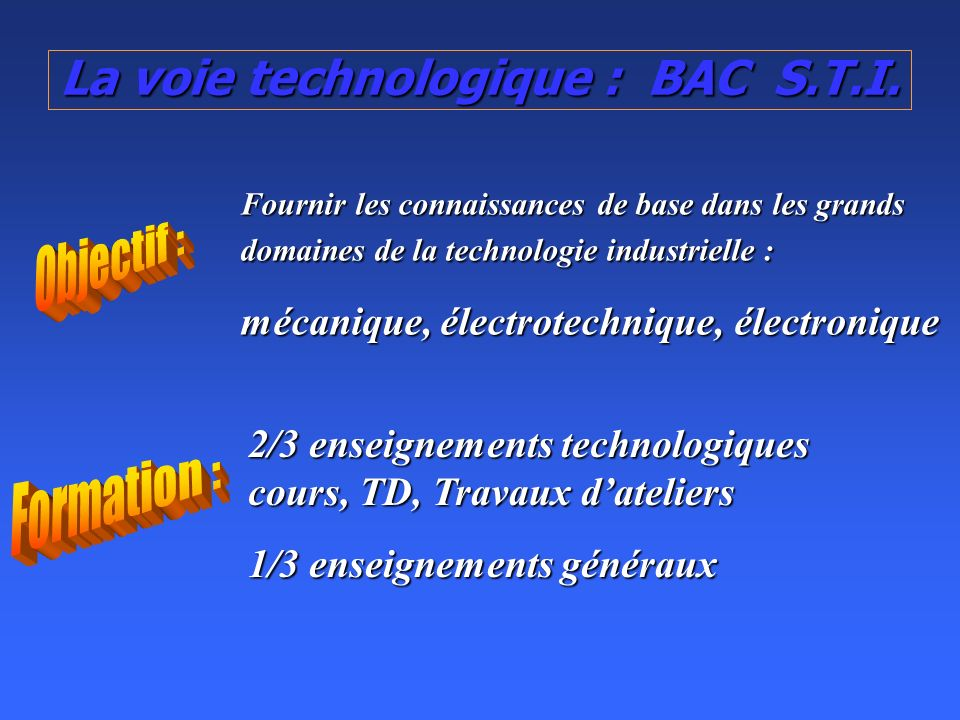 La voie technologique : BAC S.T.I.