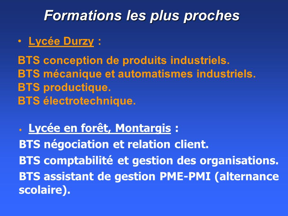 Formations les plus proches