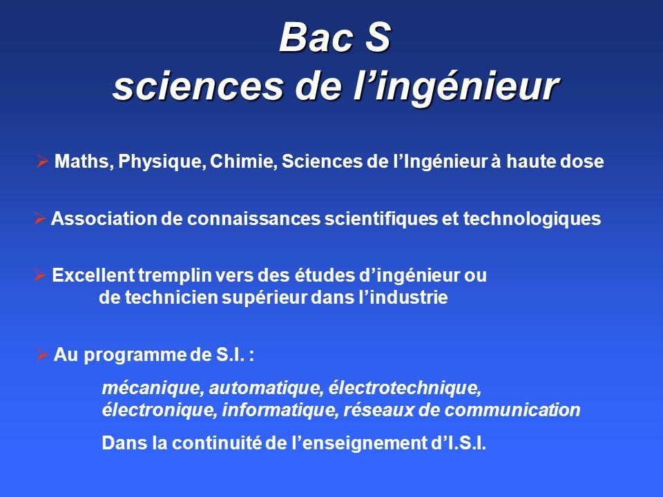 Bac S sciences de l'ingénieur