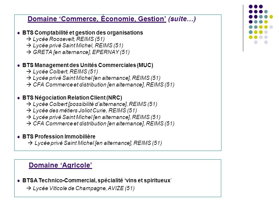 Domaine 'Agricole' Domaine 'Commerce, Économie, Gestion' (suite…)