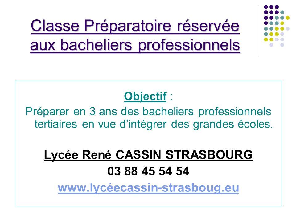 Classe Préparatoire réservée aux bacheliers professionnels