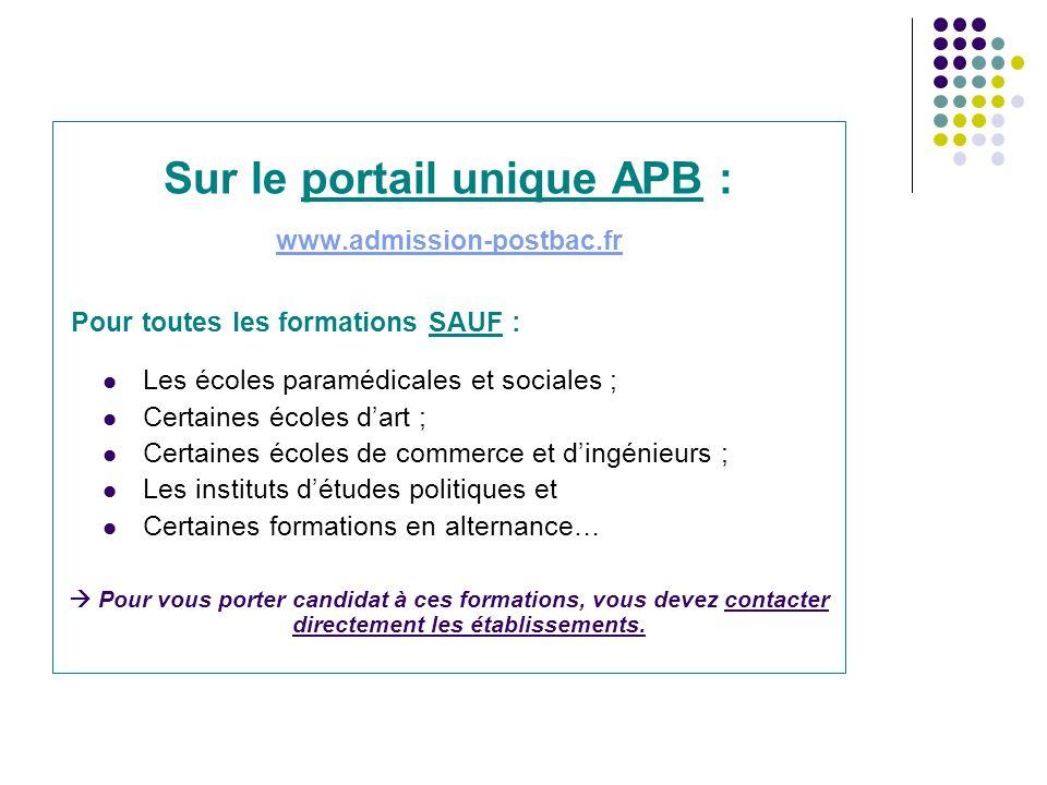Sur le portail unique APB :