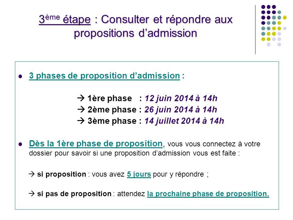 3ème étape : Consulter et répondre aux propositions d'admission