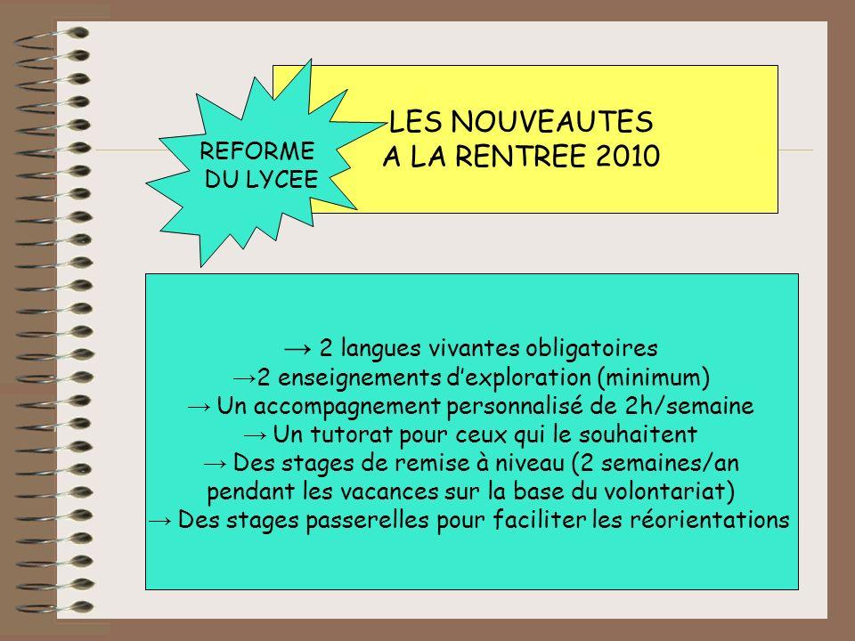 → 2 langues vivantes obligatoires