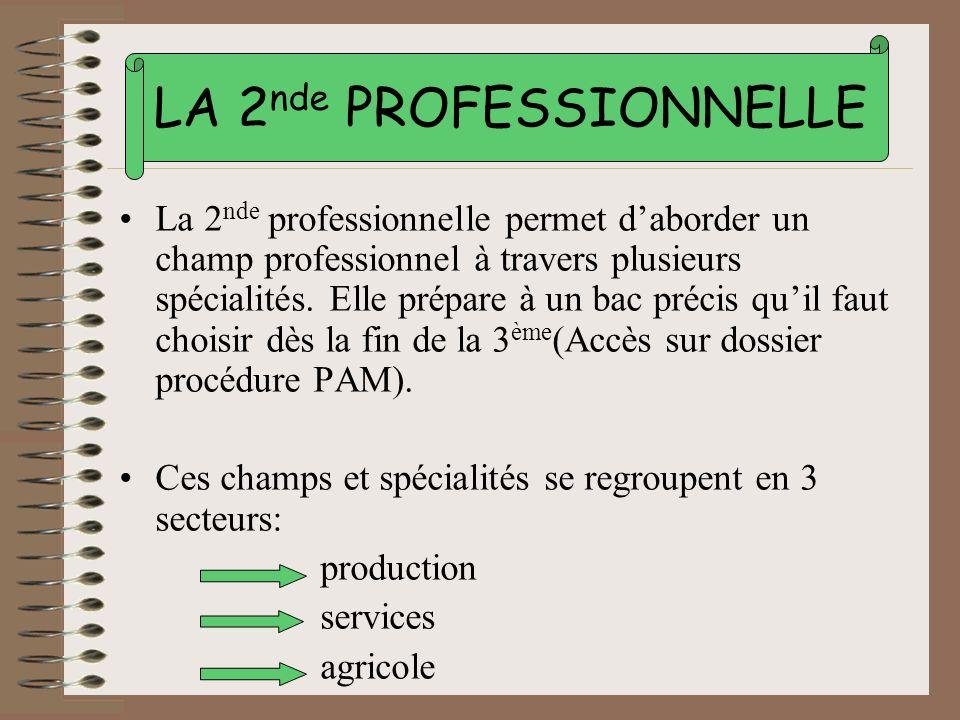LA 2nde PROFESSIONNELLE