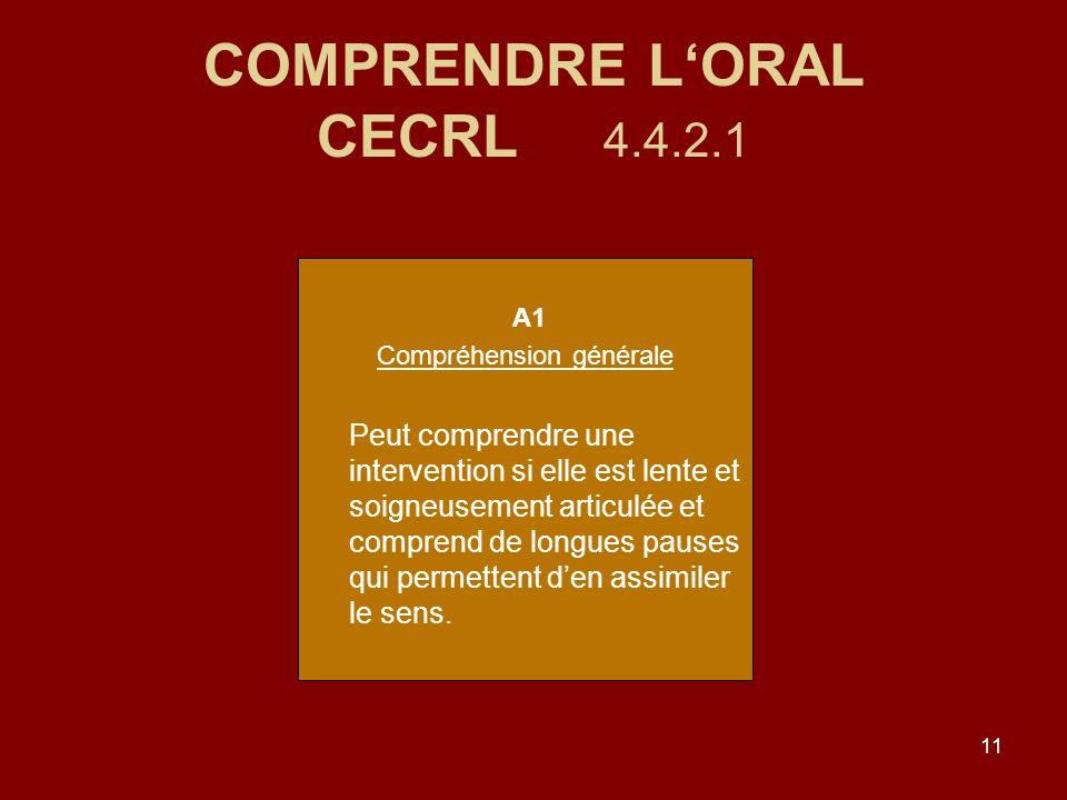 COMPRENDRE L'ORAL CECRL 4.4.2.1