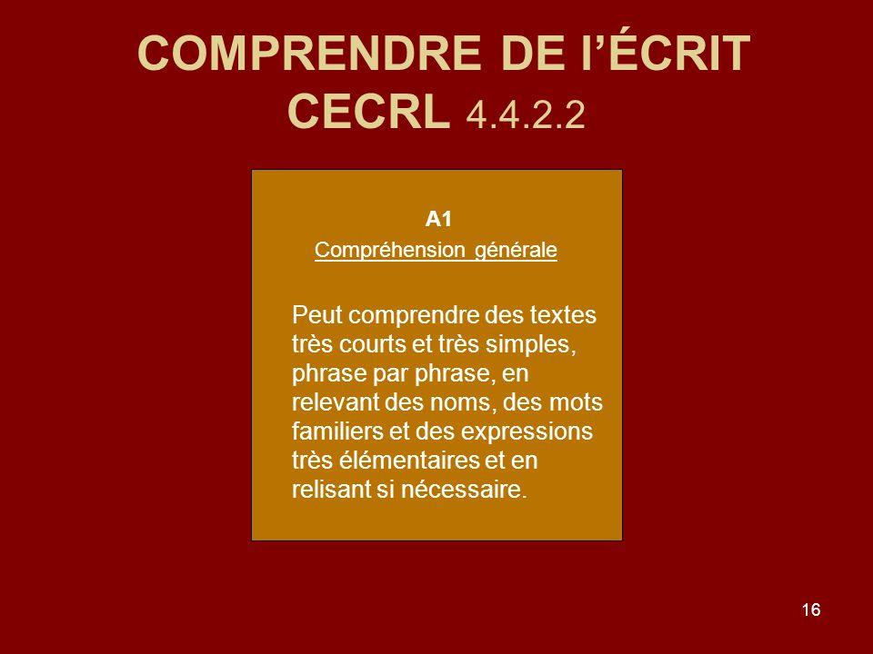 COMPRENDRE DE l'ÉCRIT CECRL 4.4.2.2