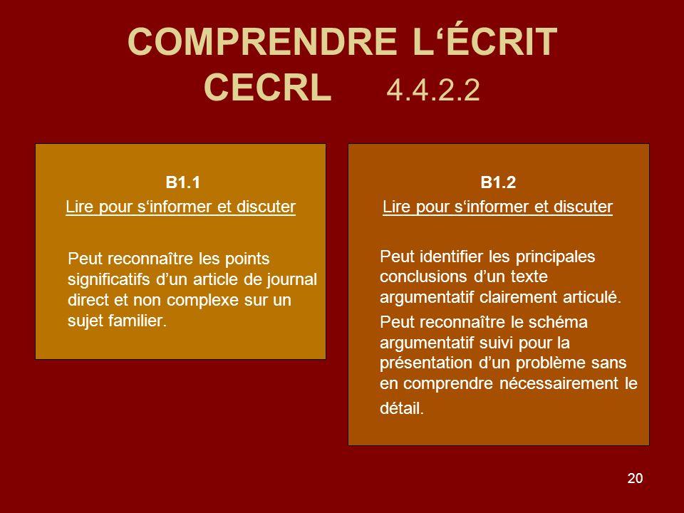 COMPRENDRE L'ÉCRIT CECRL 4.4.2.2