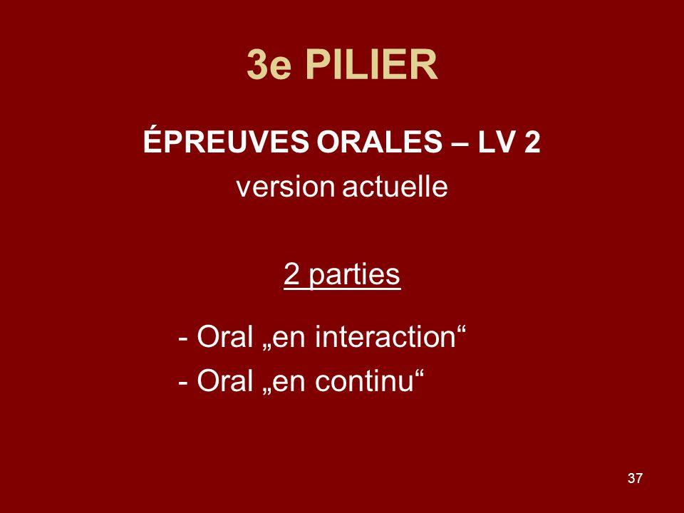 3e PILIER ÉPREUVES ORALES – LV 2 version actuelle 2 parties