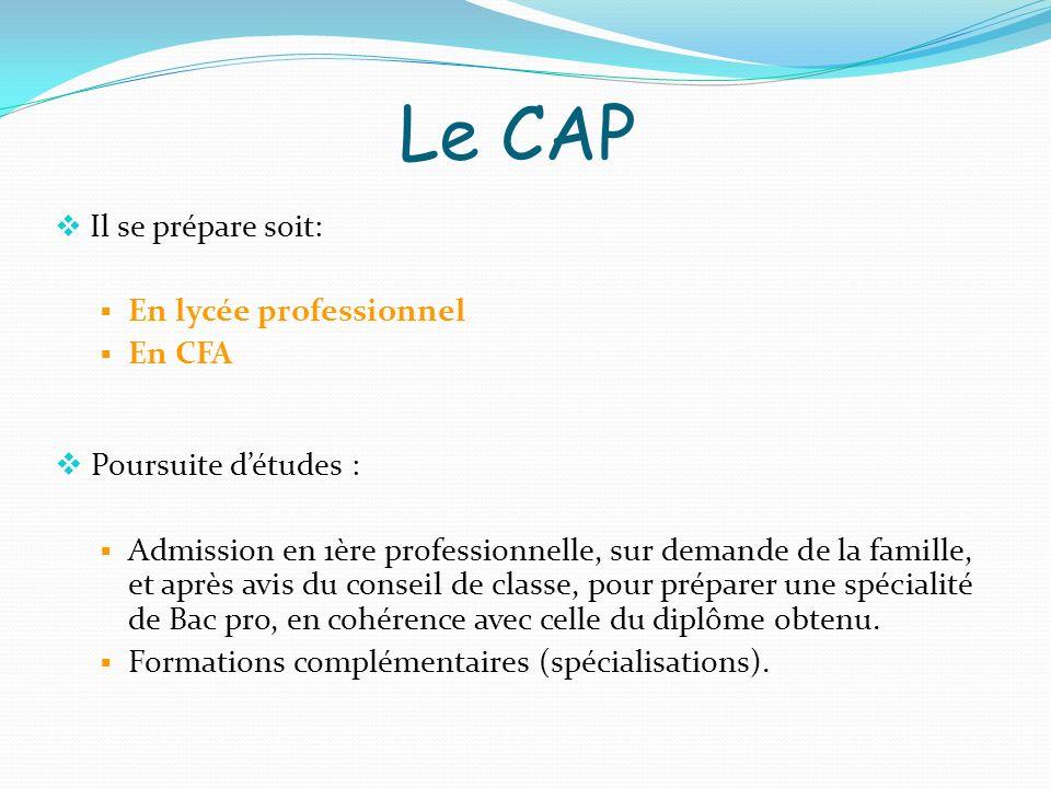 Le CAP Il se prépare soit: En lycée professionnel En CFA