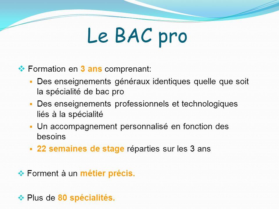 Le BAC pro Formation en 3 ans comprenant: