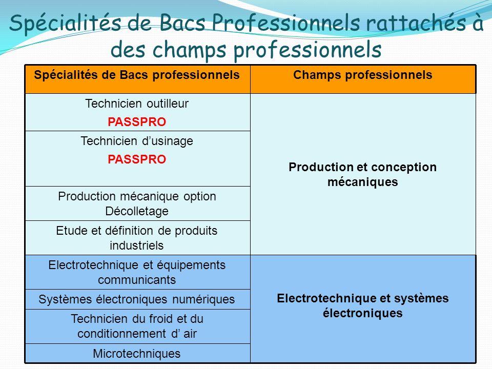 Spécialités de Bacs Professionnels rattachés à des champs professionnels