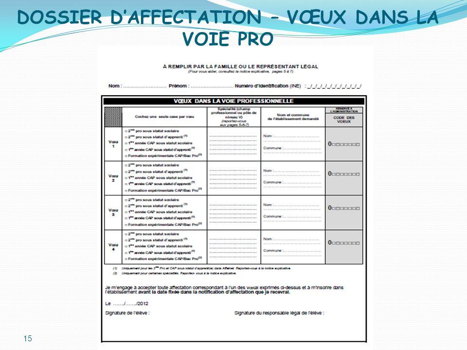 DOSSIER D'AFFECTATION – VŒUX DANS LA VOIE PRO