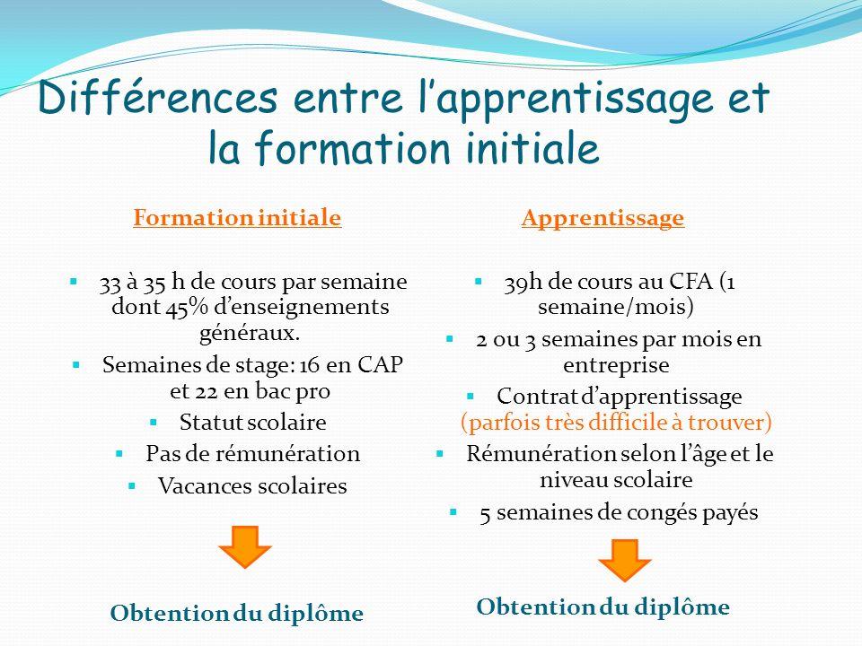 Différences entre l'apprentissage et la formation initiale