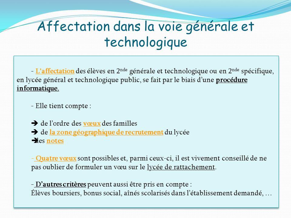 Affectation dans la voie générale et technologique