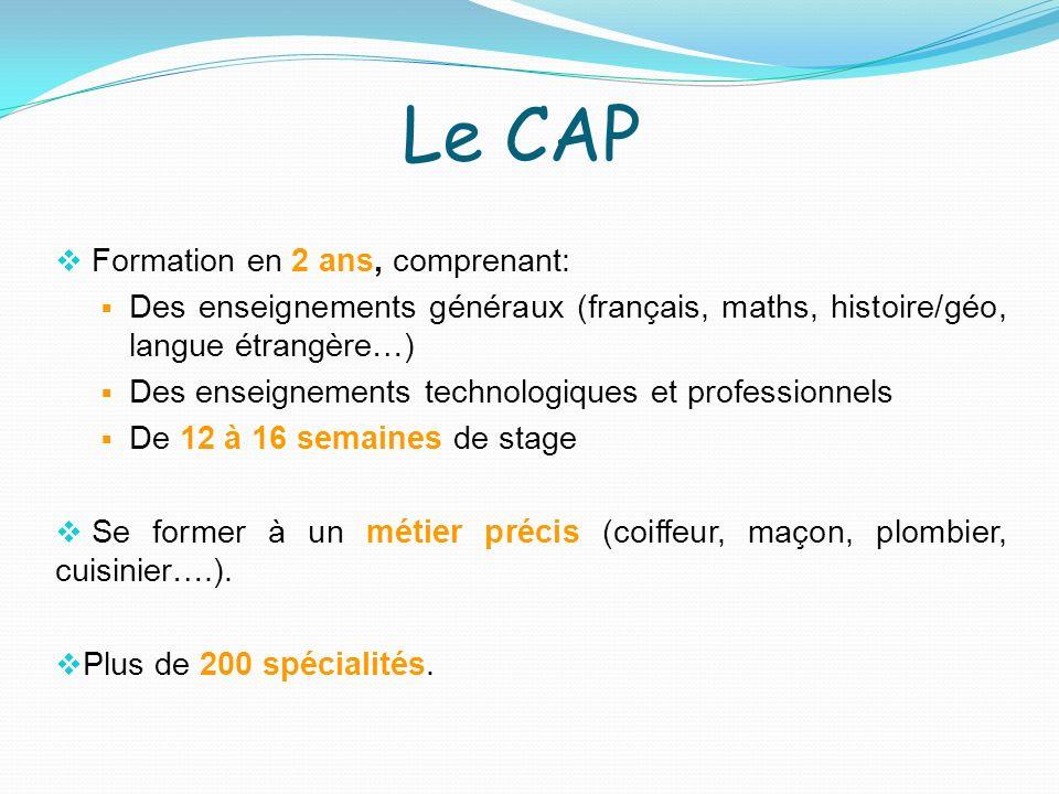 Le CAP Formation en 2 ans, comprenant: