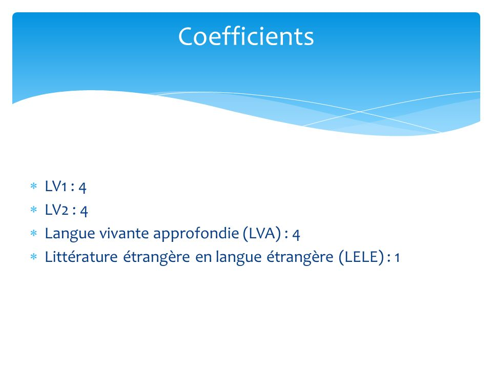 Coefficients LV1 : 4 LV2 : 4 Langue vivante approfondie (LVA) : 4