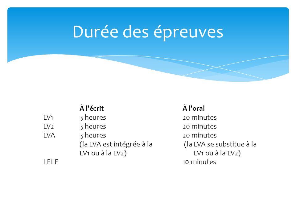 (la LVA se substitue à la LV1 ou à la LV2)