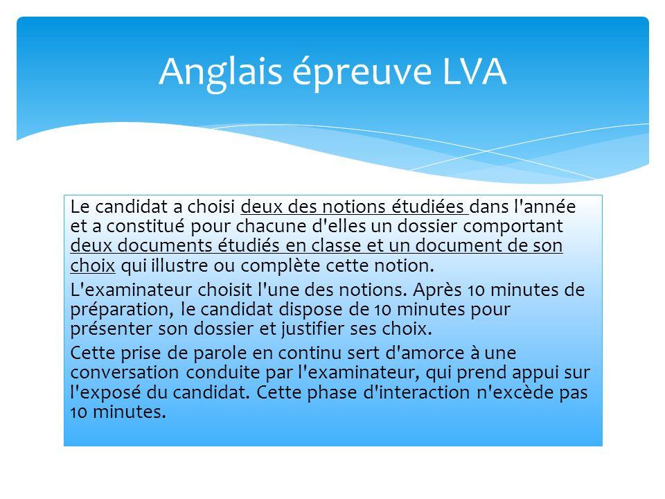 Anglais épreuve LVA