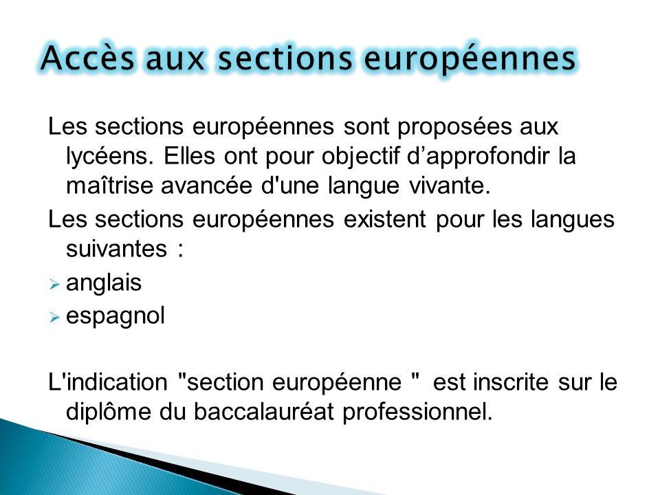 Accès aux sections européennes