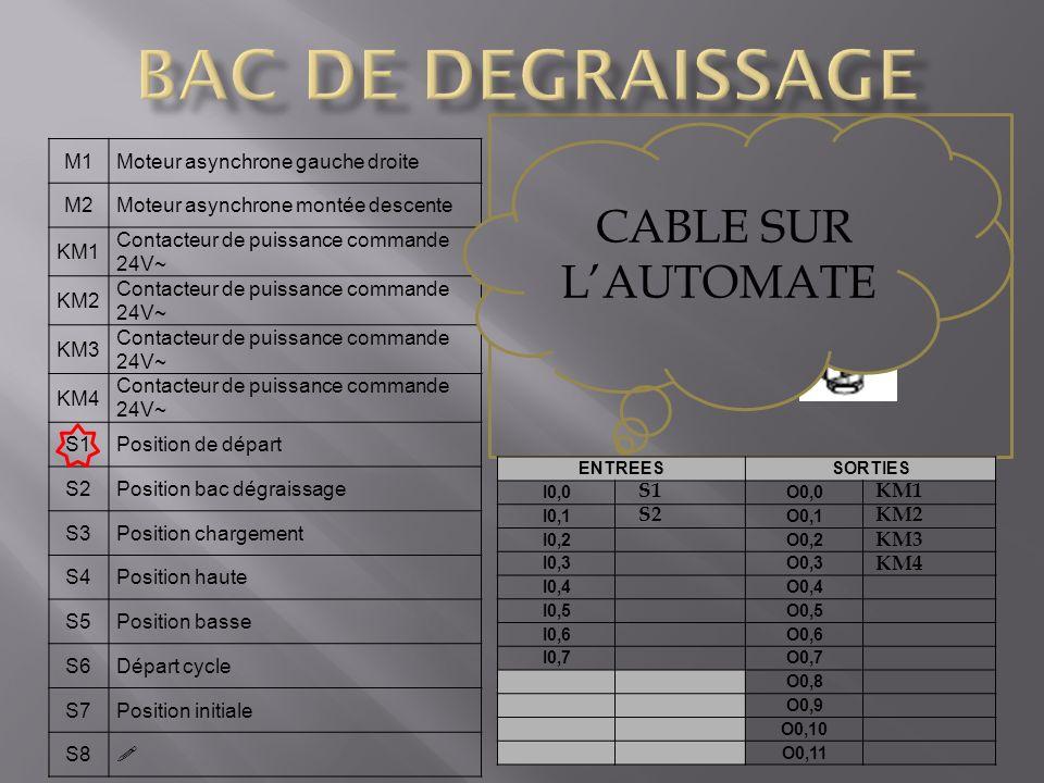 BAC DE DEGRAISSAGE CABLE SUR L'AUTOMATE S2 capteur de position M1