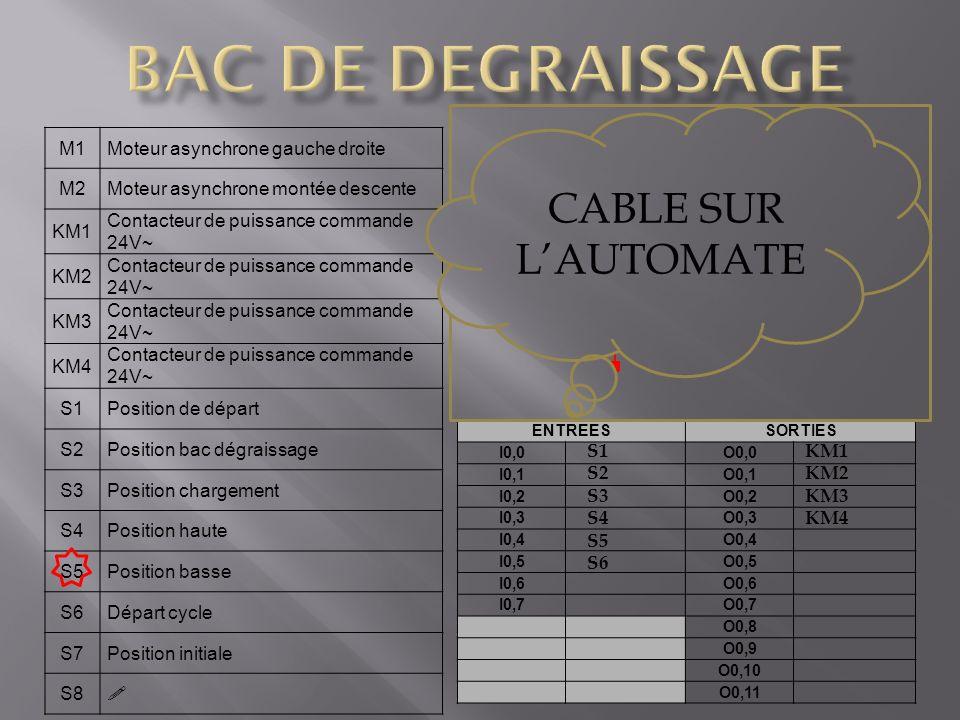 BAC DE DEGRAISSAGE CABLE SUR L'AUTOMATE S6 Bouton poussoir M1