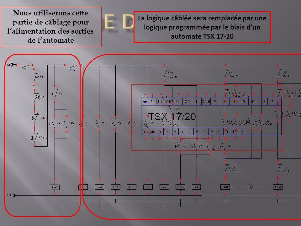 BAC DE DEGRAISSAGE Nous utiliserons cette partie de câblage pour l'alimentation des sorties de l'automate.