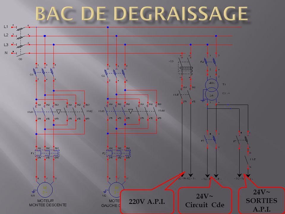 BAC DE DEGRAISSAGE 24V~ Circuit Cde 24V~ SORTIES A.P.I. 220V A.P.I.