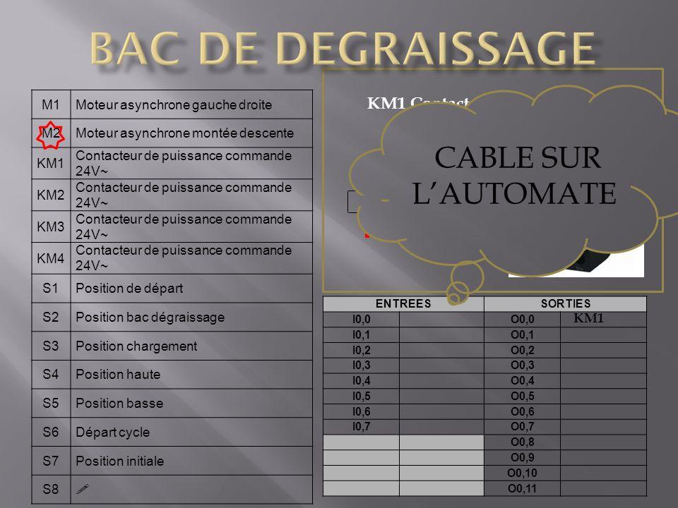 BAC DE DEGRAISSAGE CABLE SUR L'AUTOMATE KM1 Contacteur de puissance M1