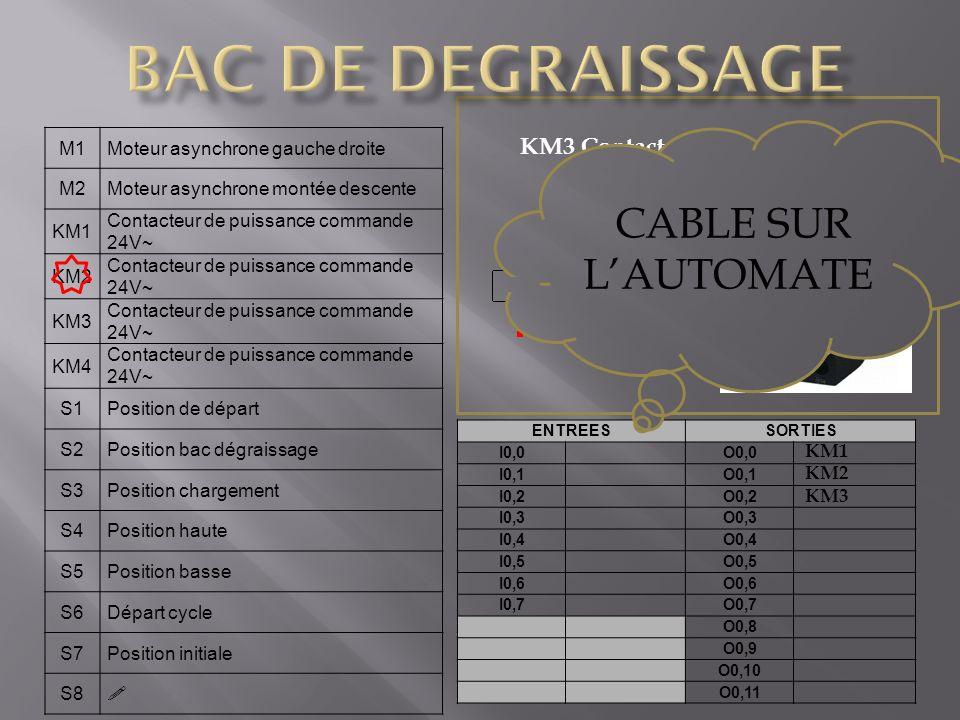 BAC DE DEGRAISSAGE CABLE SUR L'AUTOMATE KM3 Contacteur de puissance M1