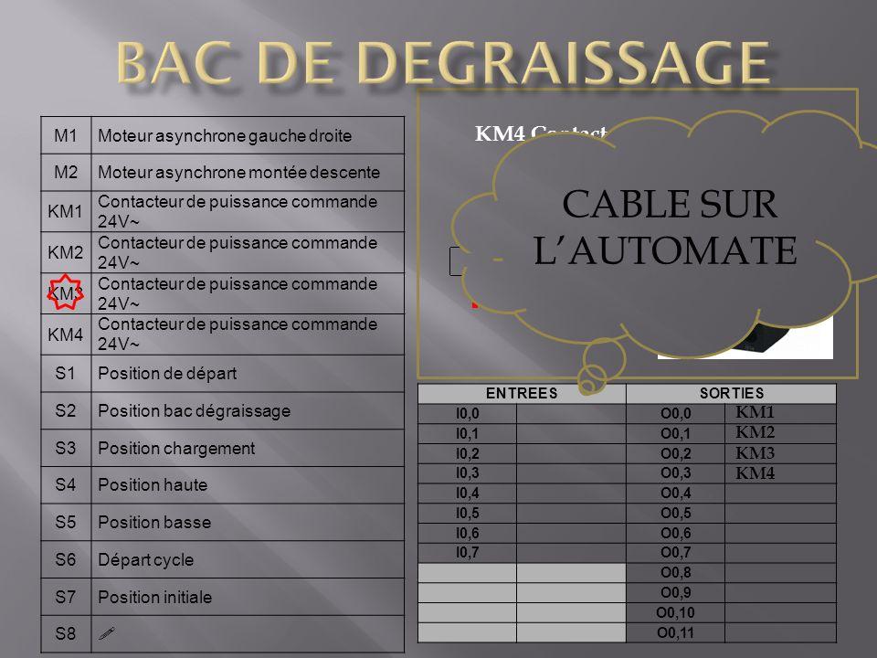 BAC DE DEGRAISSAGE CABLE SUR L'AUTOMATE KM4 Contacteur de puissance M1