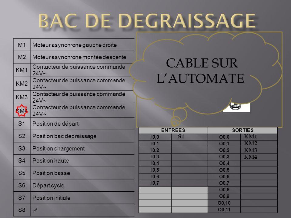 BAC DE DEGRAISSAGE CABLE SUR L'AUTOMATE S1 capteur de position M1