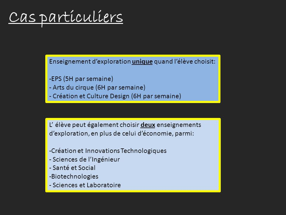 Cas particuliers Enseignement d'exploration unique quand l'élève choisit: EPS (5H par semaine) Arts du cirque (6H par semaine)