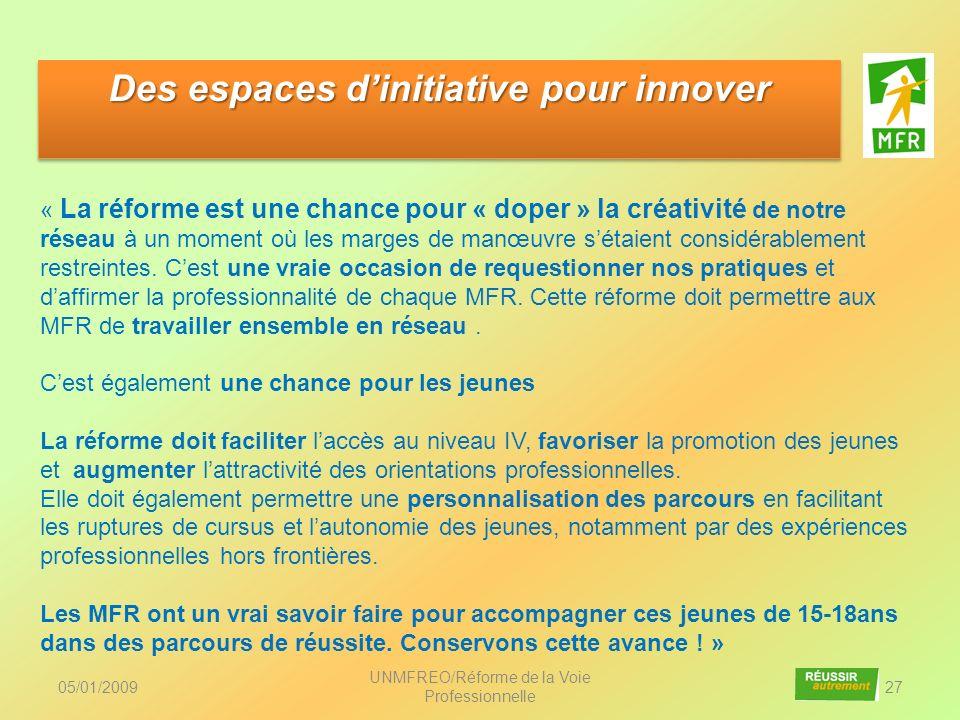 Des espaces d'initiative pour innover